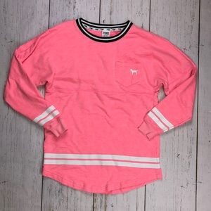 PINK by VS Hot Pink Oversized Varsity Sweater - XS